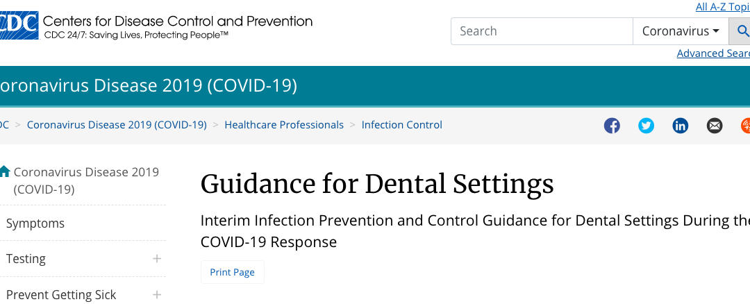 CDC Updated COVID-19 Guidance for Dental Settings 5/21/20
