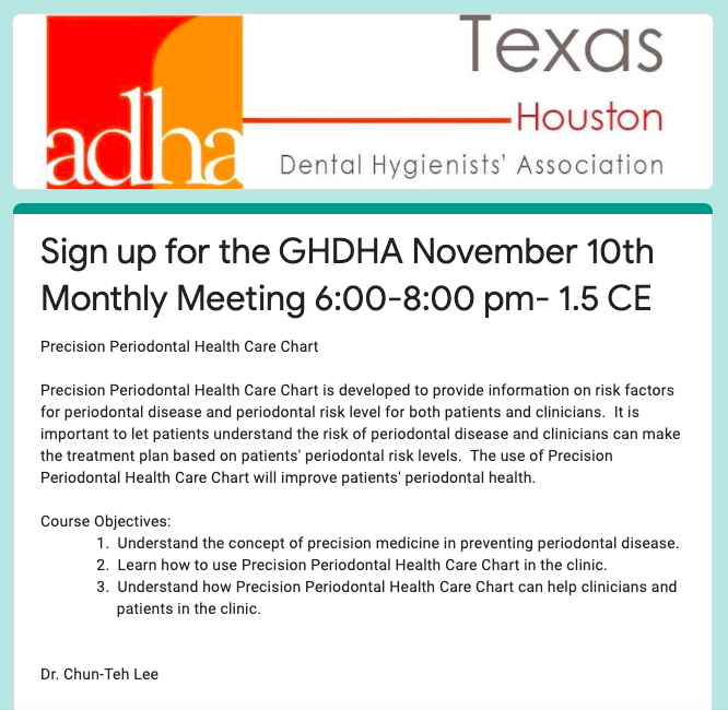 GHDHA November Monthly Meeting: 11/10