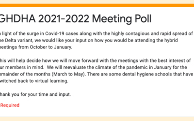 GHDHA Meeting Poll: Response Needed!